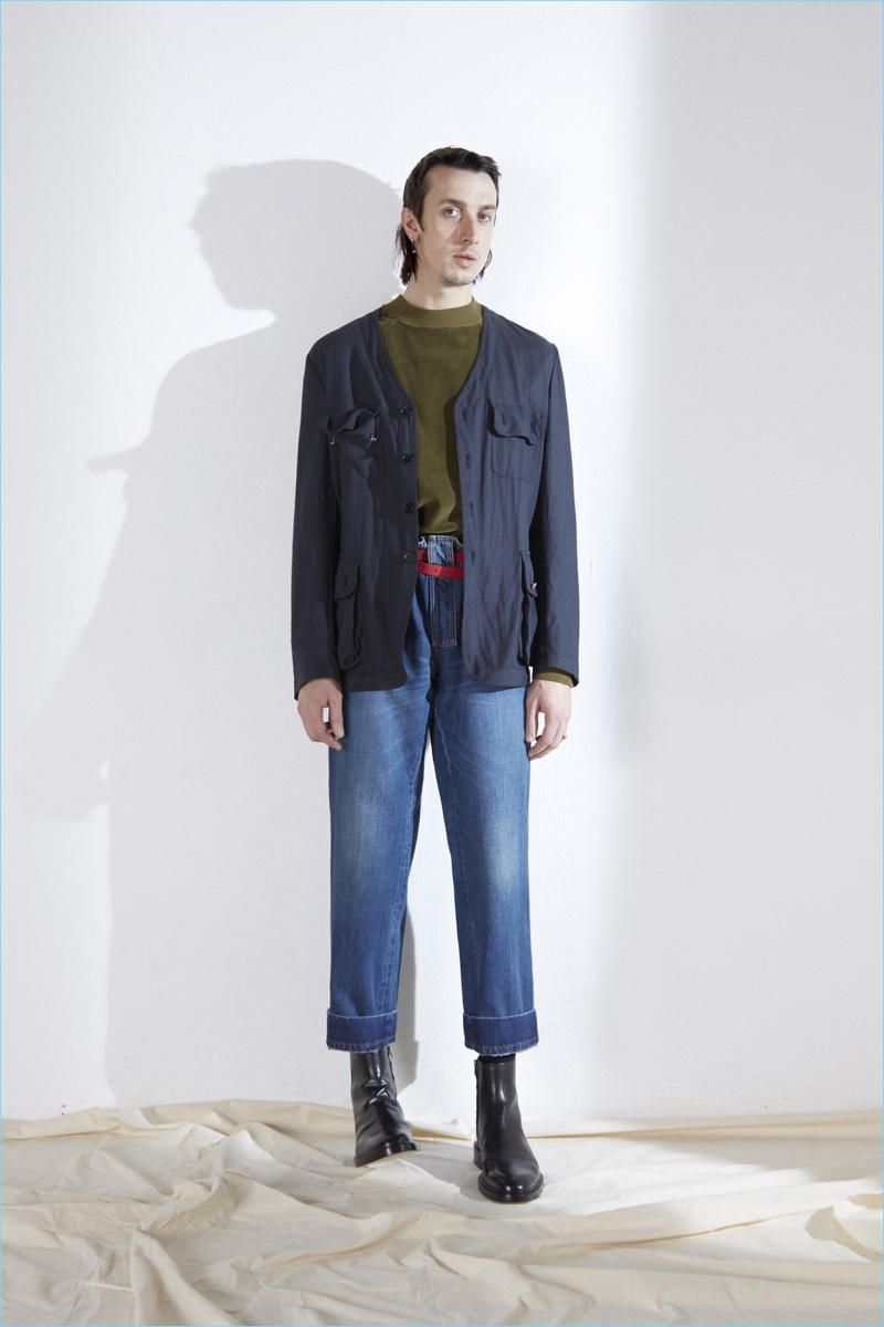 High waisted denim is front and center for Maison Margiela's fall-winter 2017 men's collection.