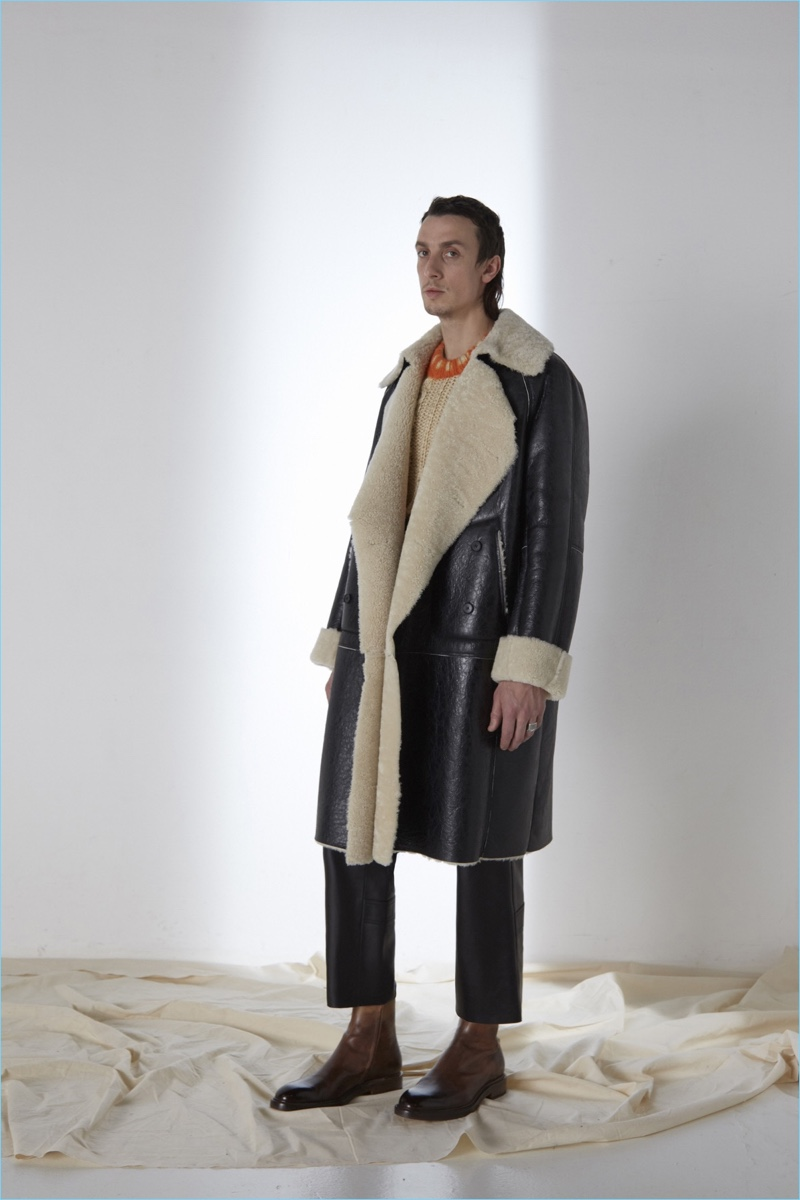 A hero piece for fall-winter 2017, Maison Margiela delivers an oversized shearling and leather coat.