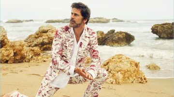 Making a bold statement, Mark Vanderloo dons a printed suit by Gucci.