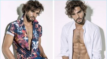 Left: Marlon Teixeira wears a Colcci shirt with Cavalera swim shorts. Right: Marlon sports a Murilo Lomas shirt with a white swimsuit.