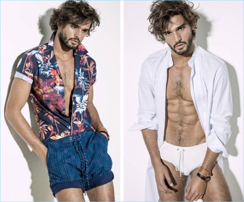 Left: Marlon Teixeira wears a Colcci shirt with Cavalera swim shorts. Right: Marlon sports a Murilo Lomas shirt with a white swimsuit.