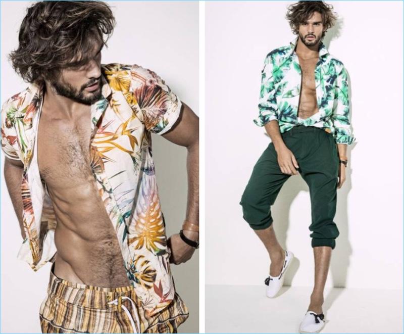 Left: Marlon Teixeira wears a tropical print shirt by Ellus with Agua de Coco swim shorts. Right: Marlon wears a Colcci shirt with Gucci pants and Murilo Lomas espadrilles.