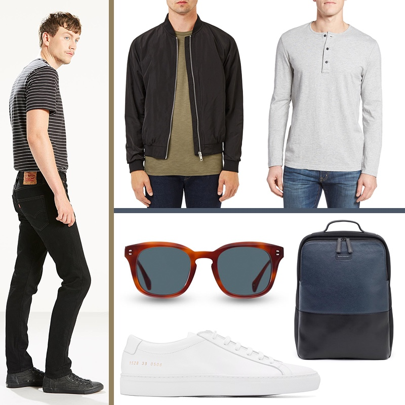 Left to Right: Levi's 501 Skinny Jeans in Black Punk, Topman Lightweight Bomber Jacket, Nordstrom Men's Shop Henley, Bolvaint Ceti L'Aventurier Sunglasses, Common Projects White Original Achilles Sneakers, and Bolvaint Giles Backpack.