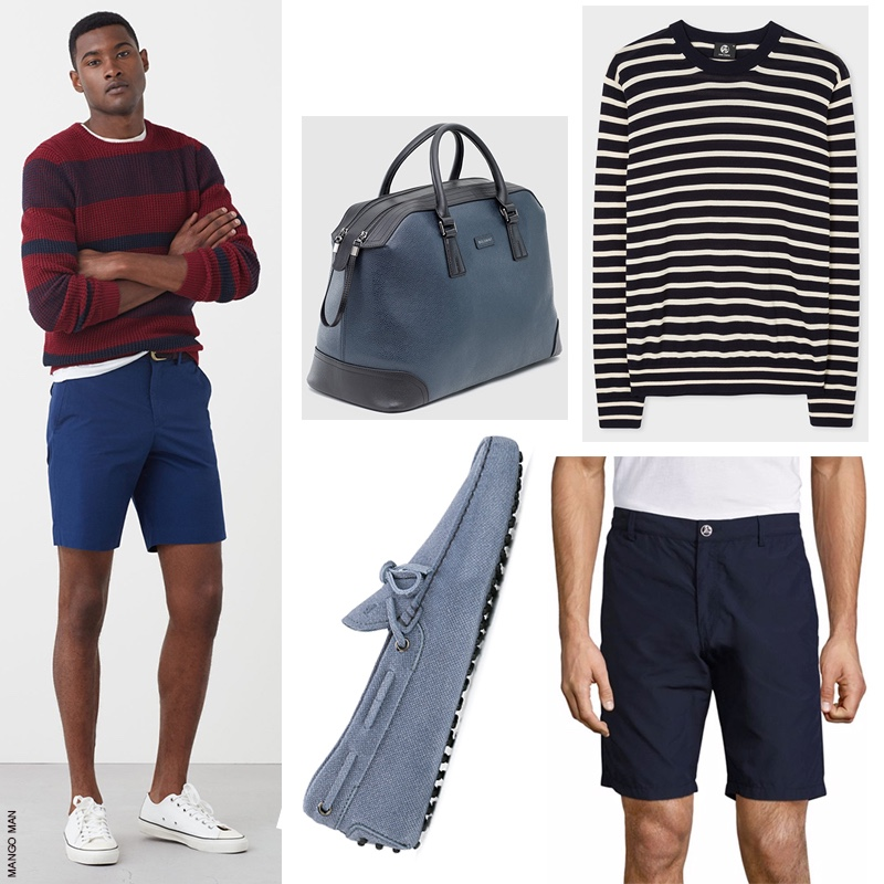 Top (Left to Right): Bolvaint Ivens Travel Bag and Paul Smith Breton Stripe Sweater. Bottom: Tod's Classic Boat Shoes and Vilebrequin Navy Bermuda Shorts.
