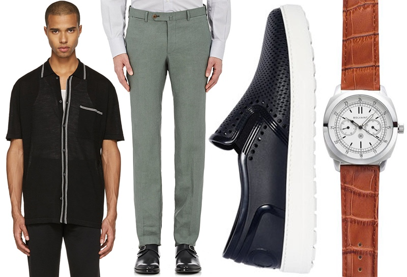 Left to Right: Lanvin Black Wool Stripe Polo, ISAIA Linen Trousers, Salvatore Ferragamo Perforated Slip-on Shoes, and Bolvaint Vitus Timepiece.