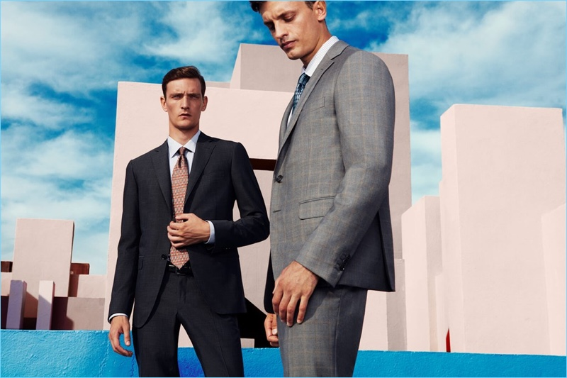 Models Yannick Abrath and Eddie Klint come together in fine suiting by Pal Zileri.