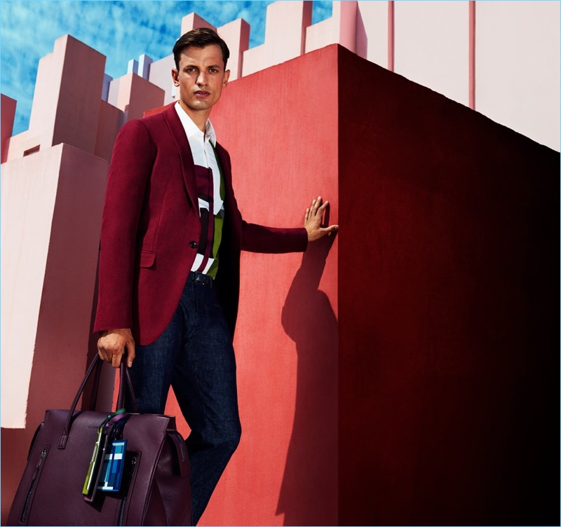 Eddie Klint dons colorful tailoring for Pal Zileri's spring-summer 2017 catalogue.