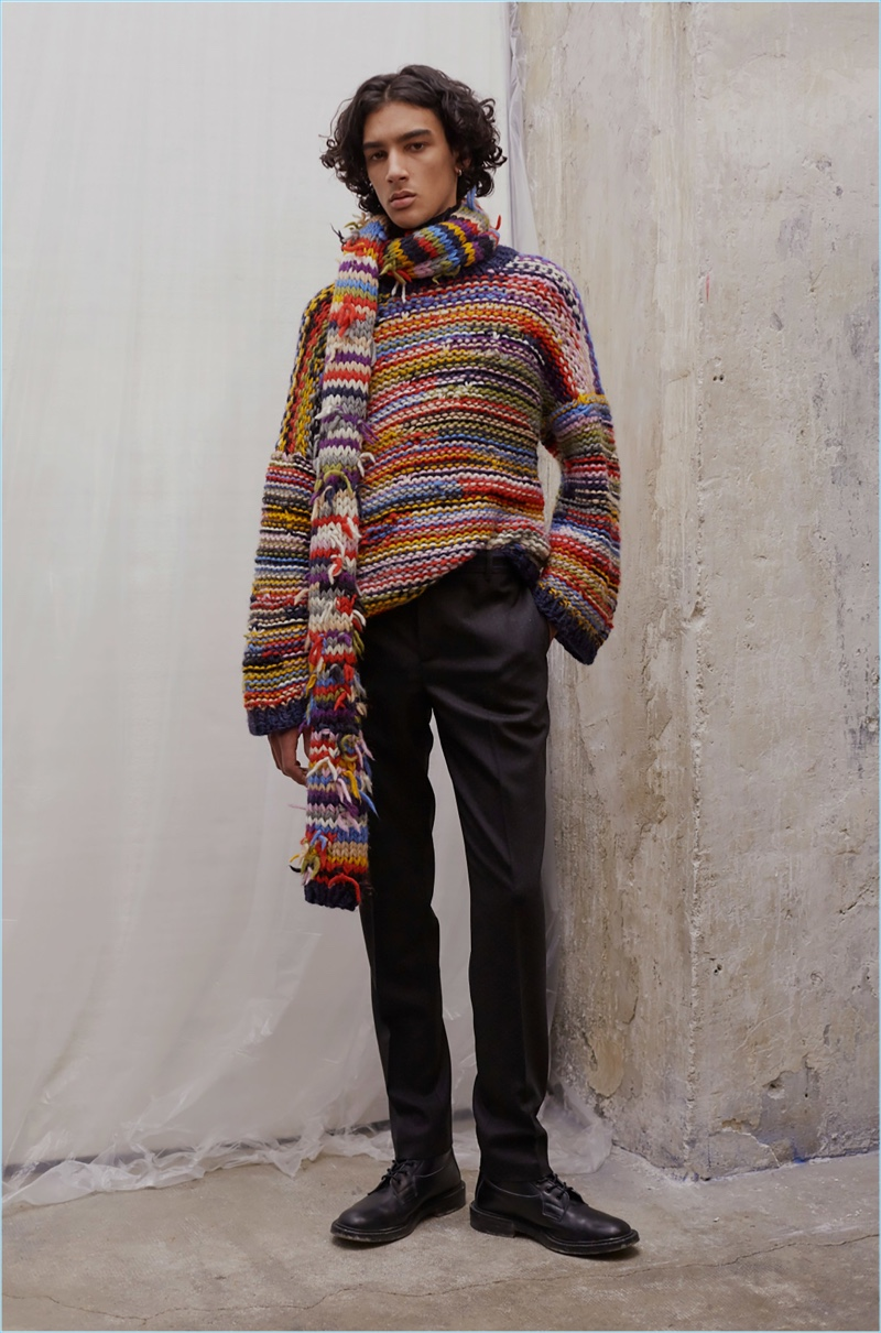 Multicolor knitwear makes a colorful statement as part of Paul & Joe's fall-winter 2017 collection.