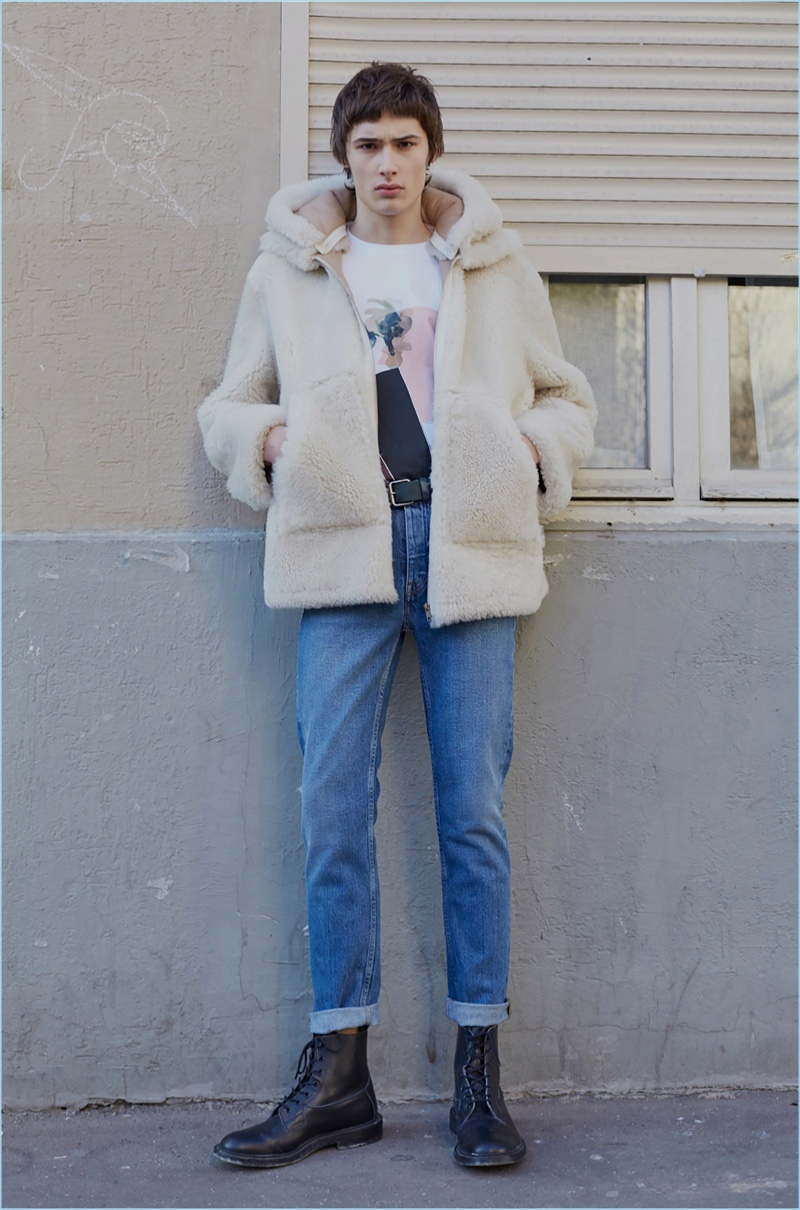 French fashion brand goes casual with a shearling hooded jacket and denim jeans for fall-winter 2017.