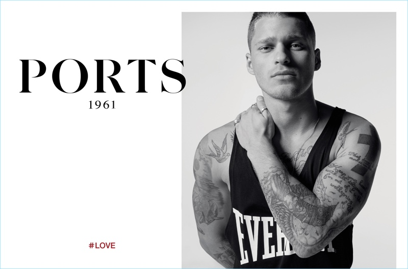 Going sporty, Matthew Noszka wears an Everlast tank for Ports 1961's spring-summer 2017 campaign.
