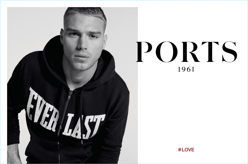 Model Matthew Noszka sports an Everlast hoodie from Ports 1961's collaboration for its spring-summer 2017 campaign.