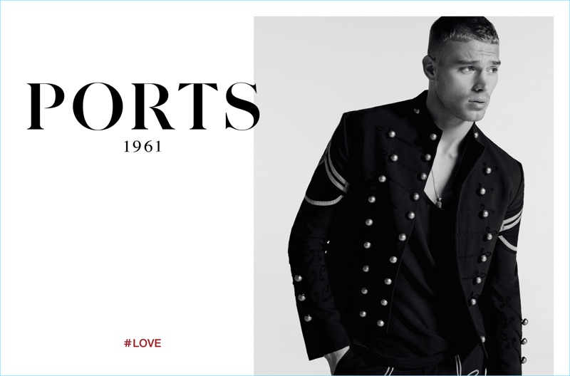 Embracing military style, Matthew Noszka stars in Ports 1961's spring-summer 2017 campaign.