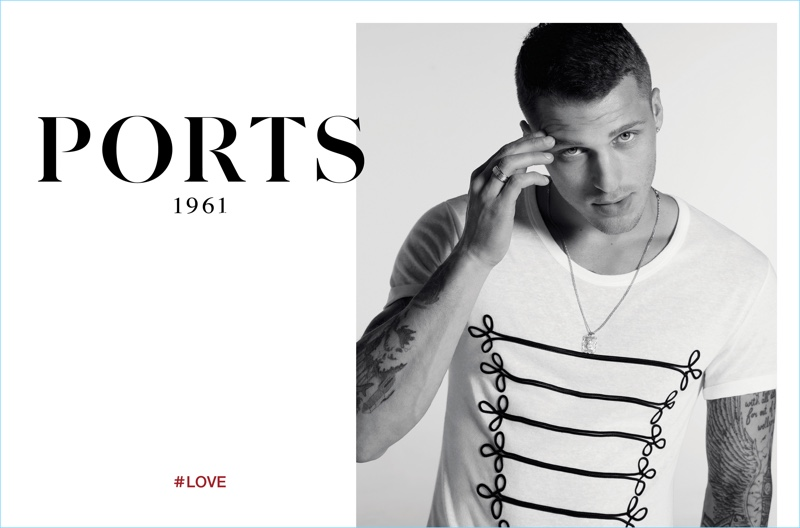 Matthew Noszka wears a military-inspired tee for Ports 1961's spring-summer 2017 campaign.