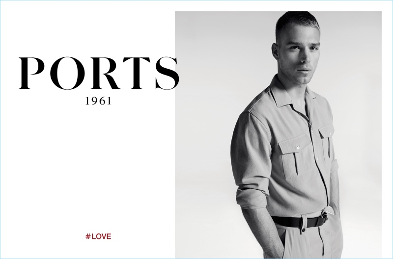 Milan Vukmirovic photographs Matthew Noszka in a khaki military-inspired number for Ports 1961's spring-summer 2017 campaign.