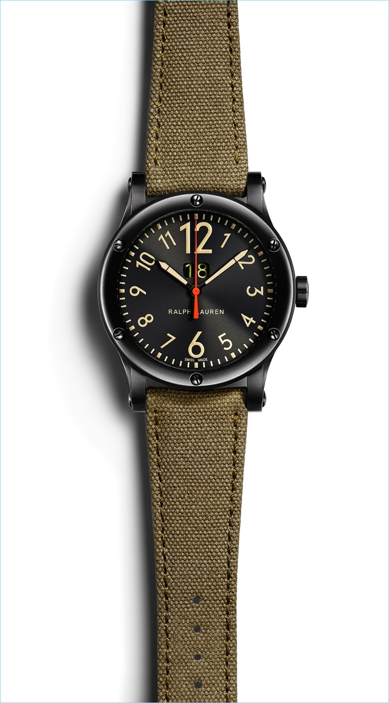 Complementing Ralph Lauren's camouflage adorned watch, this Safari Grand Date timepiece features a black dial and a rugged canvas strap.