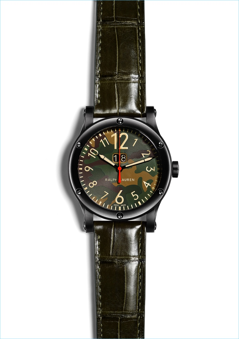 A camouflage dial comes together with a sleek leather strap for Ralph Lauren's stylish Safari Grand Date watch.