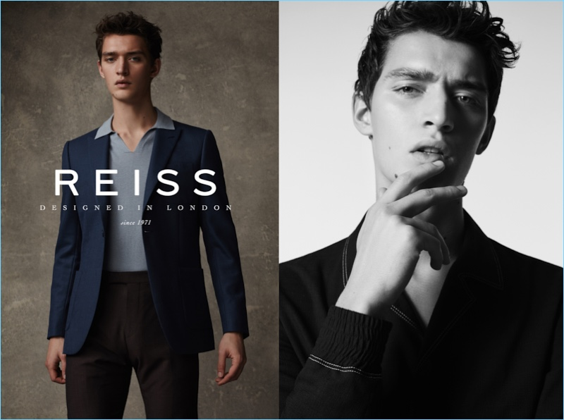 Otto Lotz stars in Reiss' spring-summer 2017 campaign.
