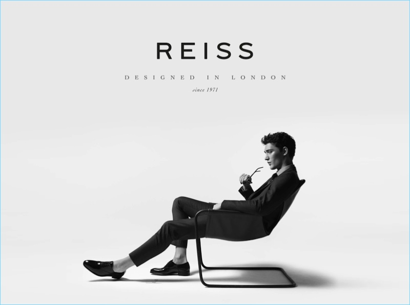 A sleek vision, Otto Lotz fronts Reiss' spring-summer 2017 campaign.