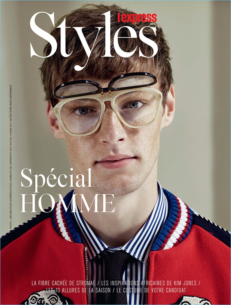 Roberto Sipos tackles a geek chic look in spring fashions from Gucci.