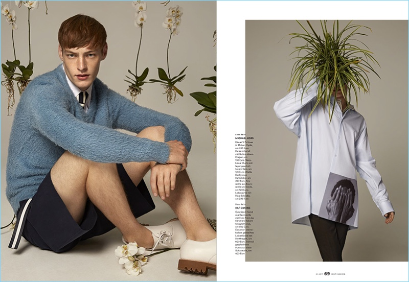 Left: Roberto Sipos wears chic fashions from Michael Kors. Right: Roberto plays it coy in an oversized look from Raf Simons.