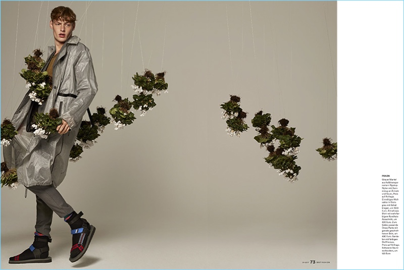 Starring in an editorial for Men's Health Germany Best Fashion, Roberto Sipos rocks a Prada spring outfit.
