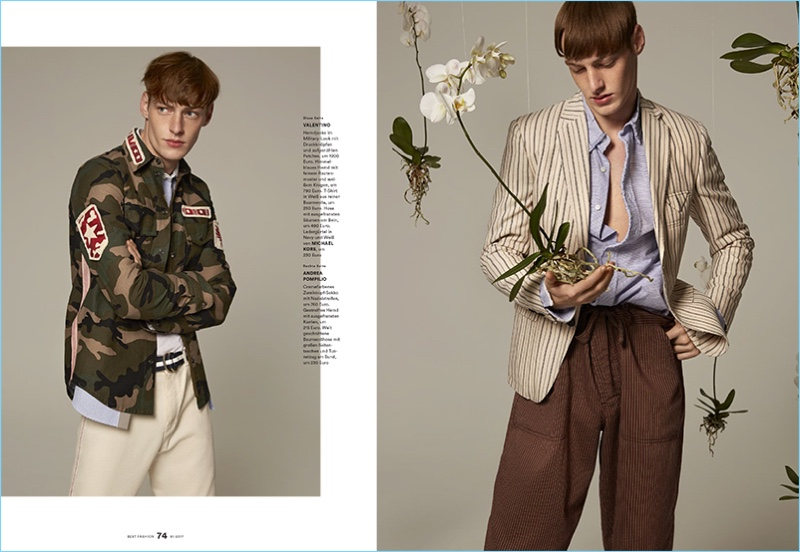 Left: Roberto Sipos enjoys a camouflage moment in Valentino. Right: Roberto sports a mix of striped patterns from Andrea Pompilio.