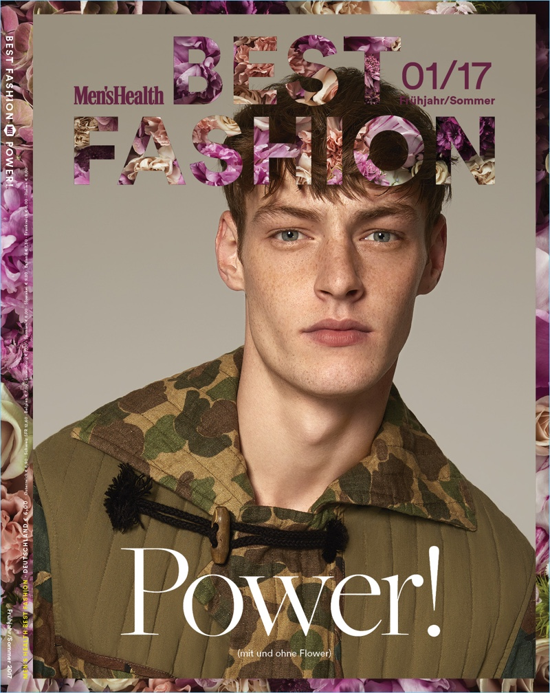 Covering Men's Health Germany Best Fashion, Roberto Sipos models a camouflage print look by Dries Van Noten.