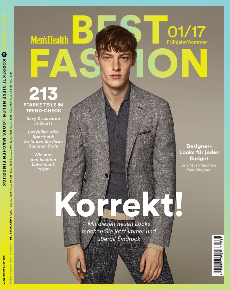 Roberto Sipos dons a texture rich ensemble from Canali for the cover of Men's Health Germany Best Fashion.