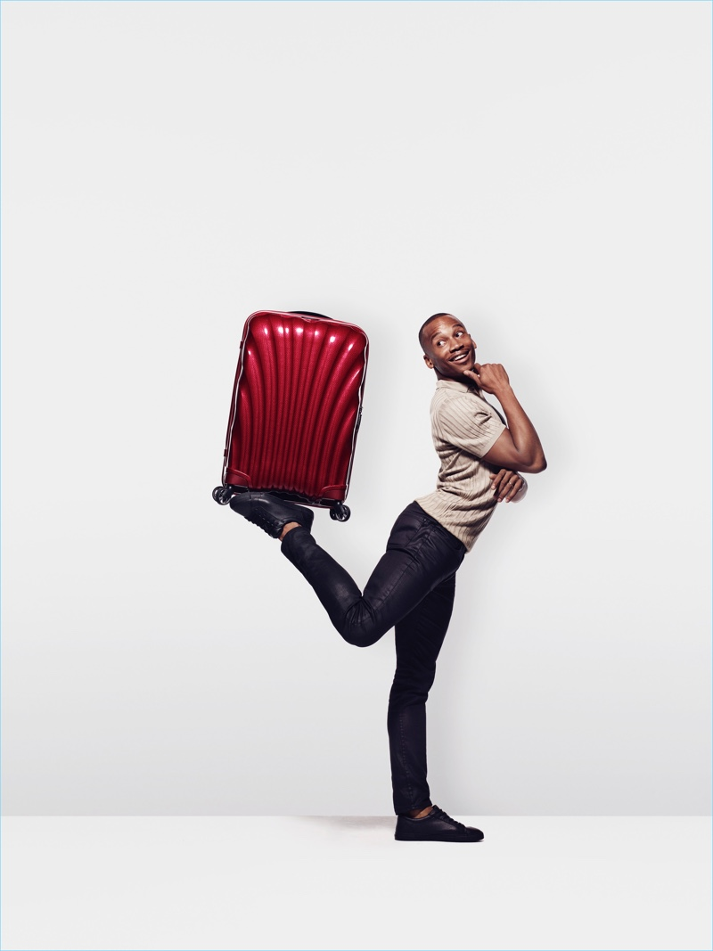 Eric Underwood balances one of Samsonite's spinners.