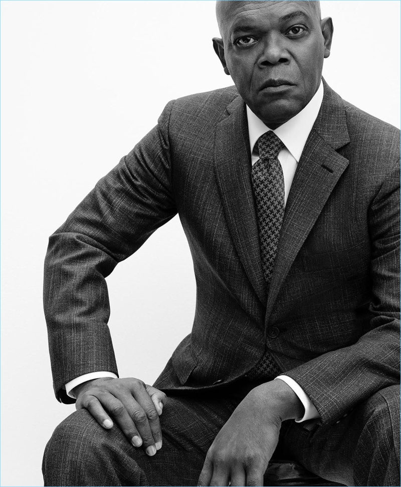 Sitting for a black and white photo, Samuel L. Jackson wears a suit for Brioni's spring-summer 2017 campaign.