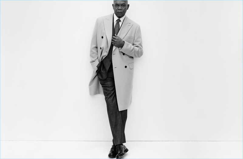 Front and center, Samuel L. Jackson dons a double-breasted coat and suit for Brioni's spring-summer 2017 campaign.