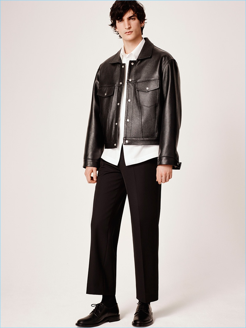 A cropped leather jacket and trousers contribute to Sandro's must-have pieces for fall-winter 2017.