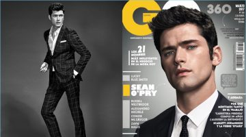 Sean O'Pry covers the March 2017 issue of GQ España. Pictured left, Sean wears a shirt and suit from Massimo Dutti with Church's leather loafers.
