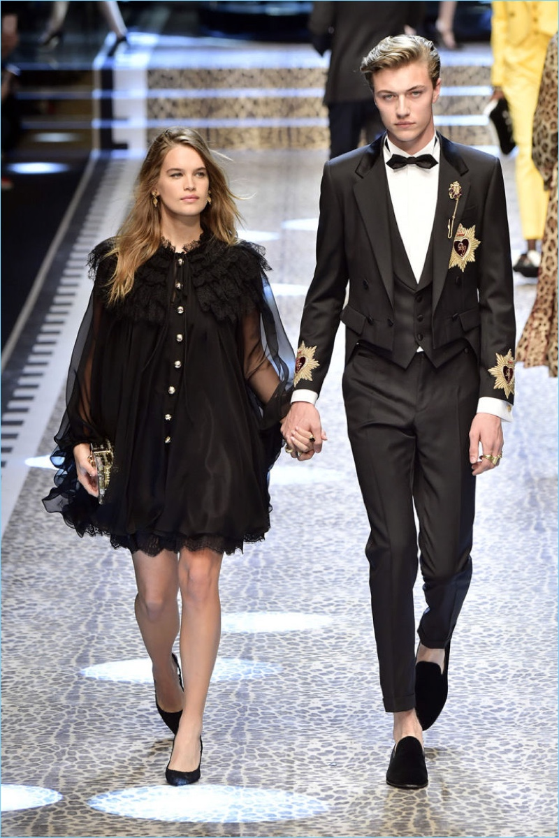 Stormi Bree and Lucky Blue Smith take to the catwalk for Dolce & Gabbana's fall-winter 2017 show.