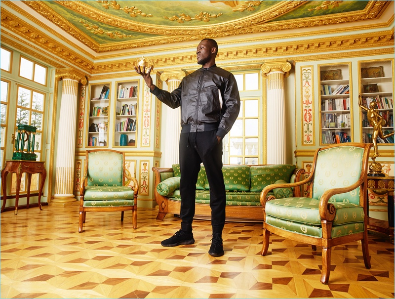 Rankin photographs Stormzy in a Y-3 jacket and Adidas Originals x Yeezy sneakers with the artist's own joggers.