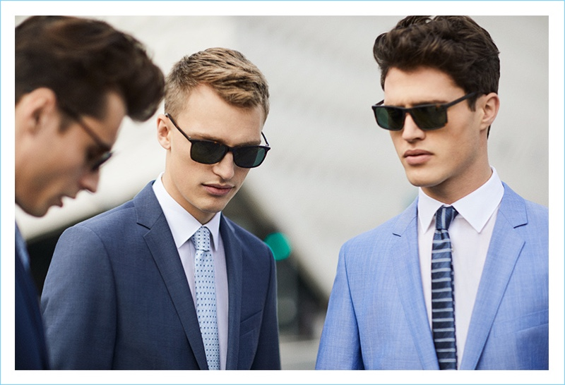 Sporting shades, Adrien Sahores, Victor Nylander, and Benjamin Reynier appear in Strellson's spring-summer 2017 campaign.