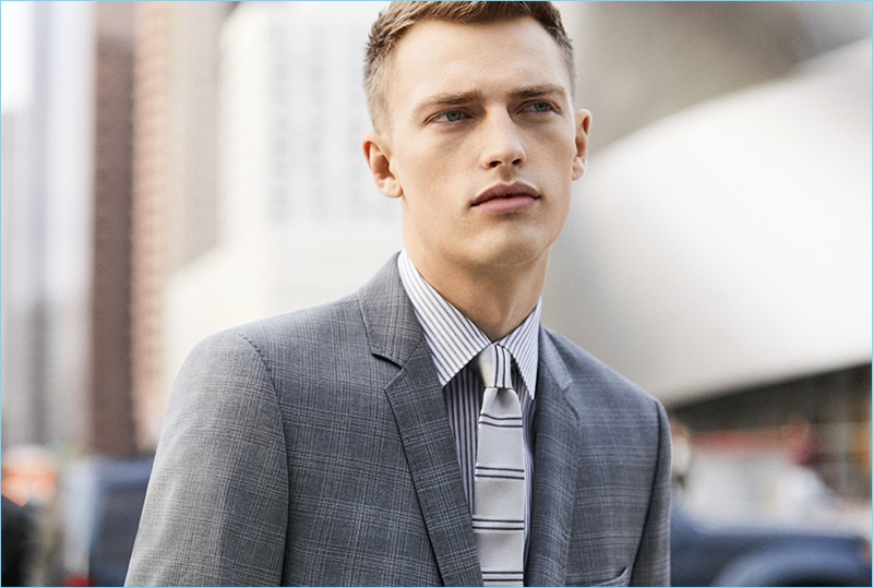 Victor Nylander dons grey suiting for Stellson's spring-summer 2017 campaign.