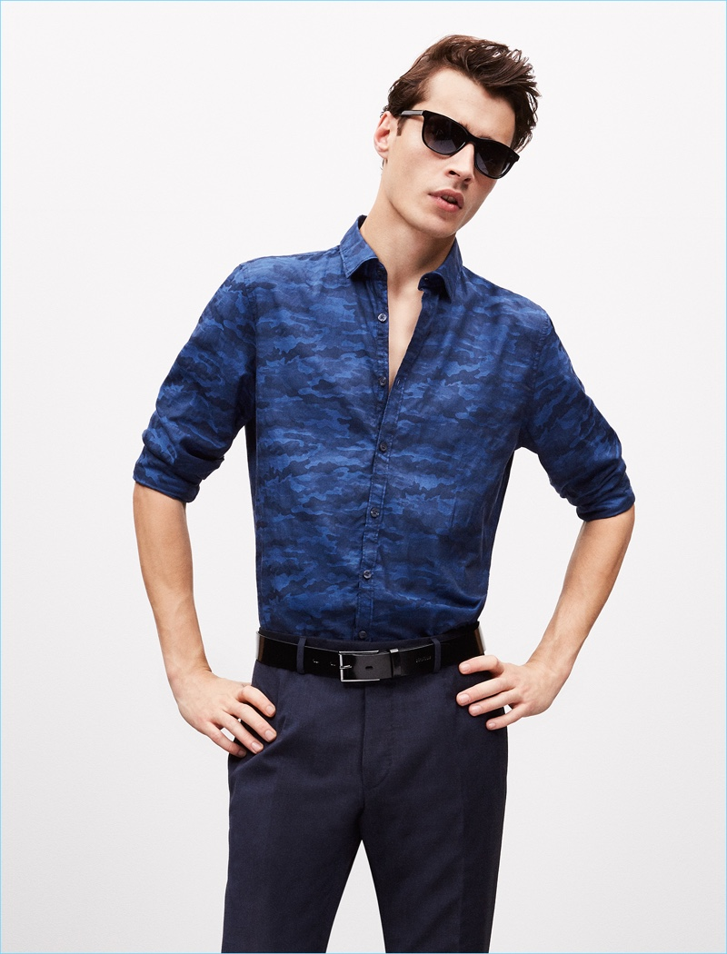 French model Adrien Sahores is front and center in sunglasses for Strellson's spring-summer 2017 lookbook.