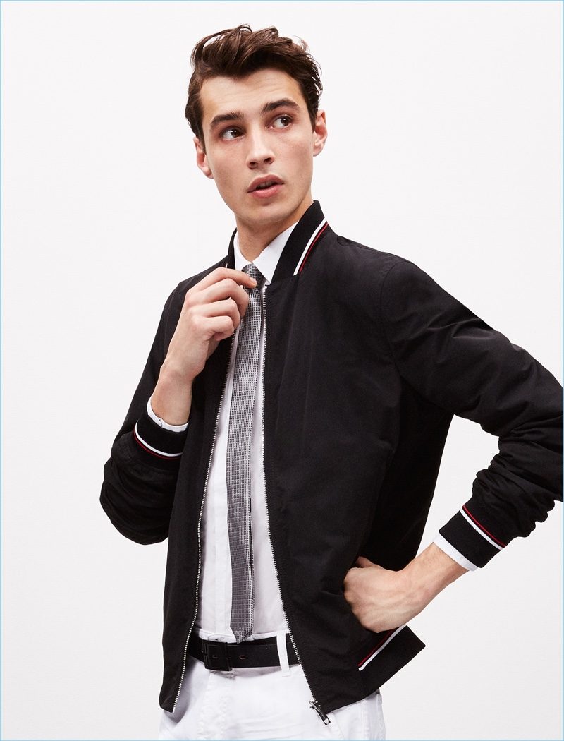 Strellson taps Adrien Sahores for a chic spring outing, which includes a sharp bomber jacket.