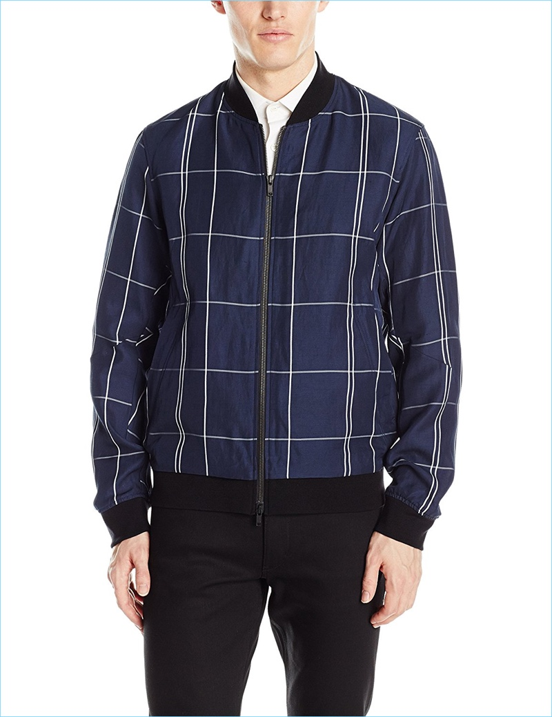 Theory Men's Articulated Bomber Ul Drape Linen Fashion Bomber