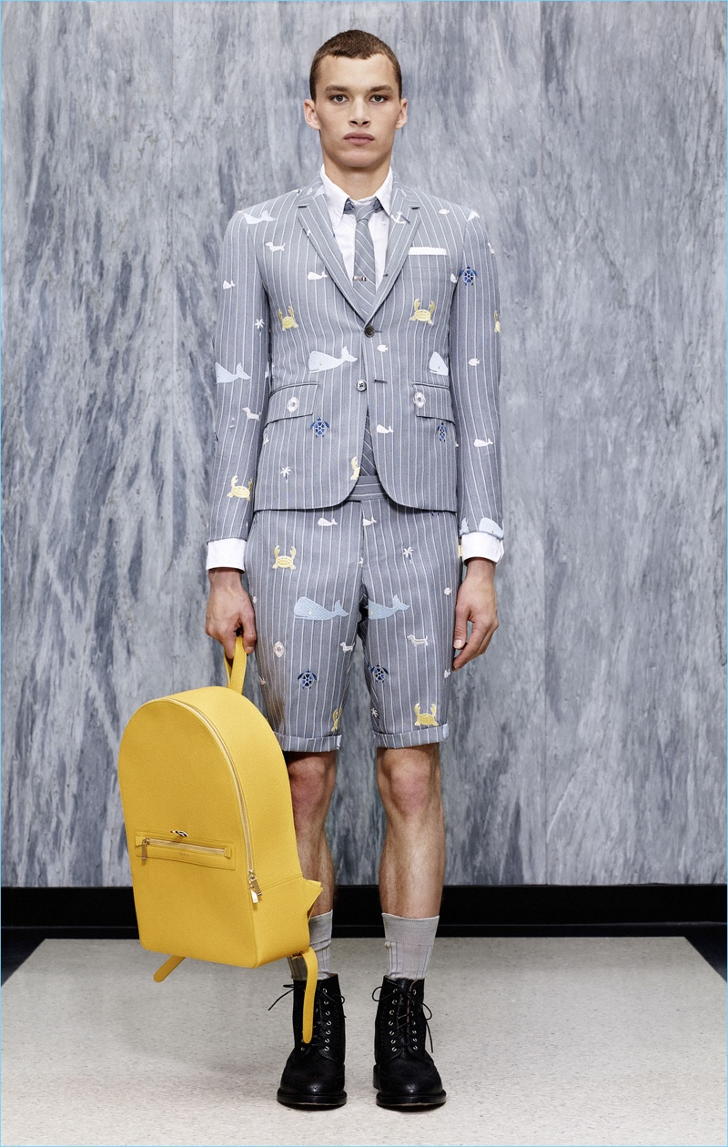 The short suit receives a playful update with Thom Browne embracing nautical motifs such as a whale graphic.