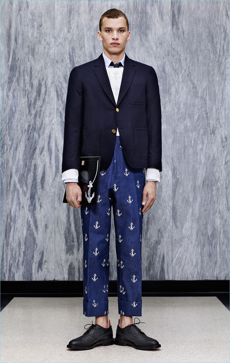 Anchors solidify a nautical motif from Thom Browne's spring-summer 2017 collection.