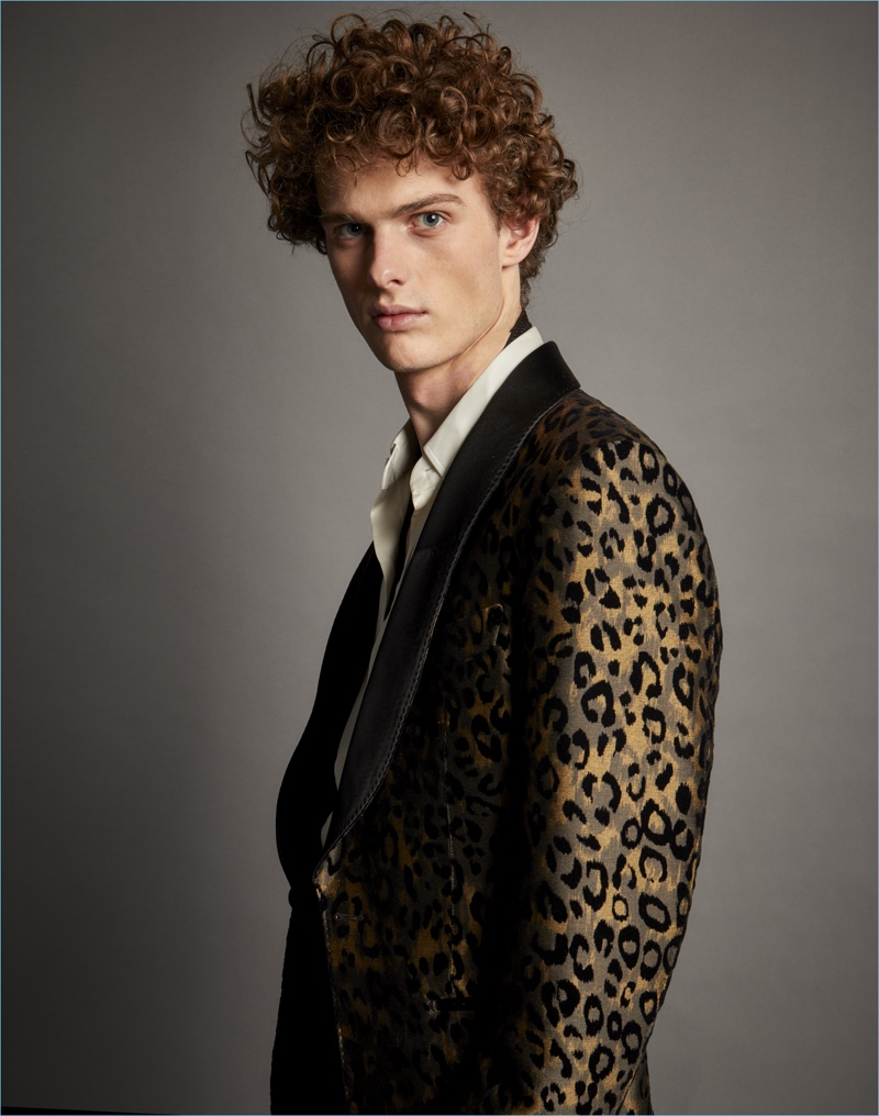 Tom Ford takes a walk on the wild side with a leopard print dinner jacket.