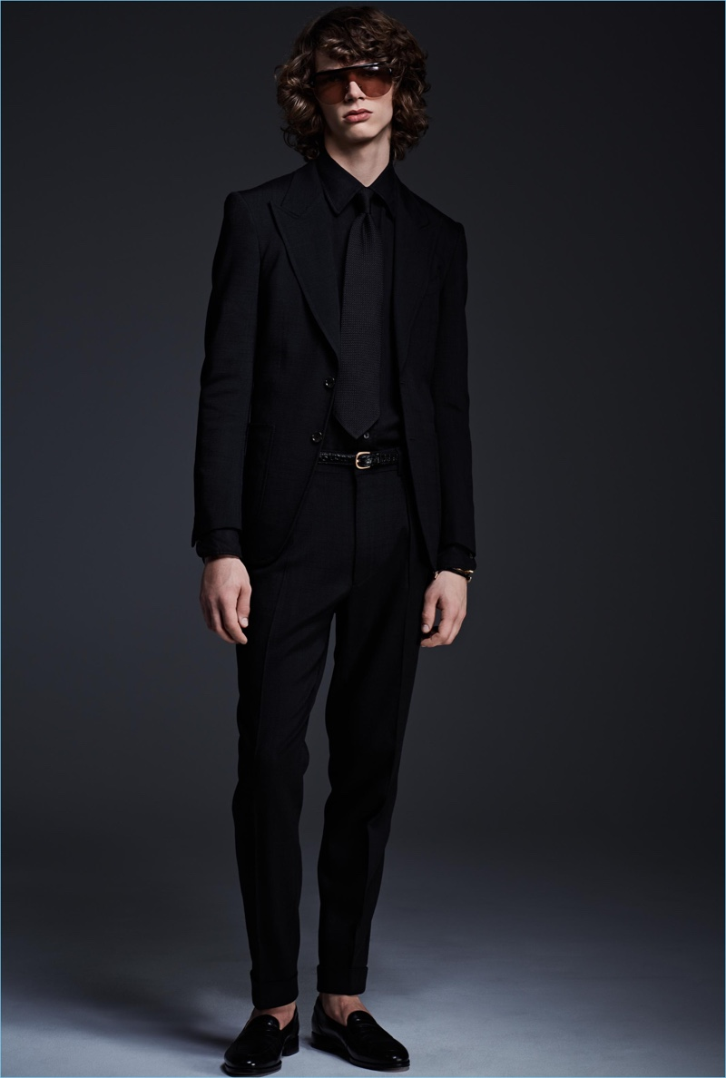 Erik van Gils dons a black on black look from Tom Ford's spring-summer 2017 collection.