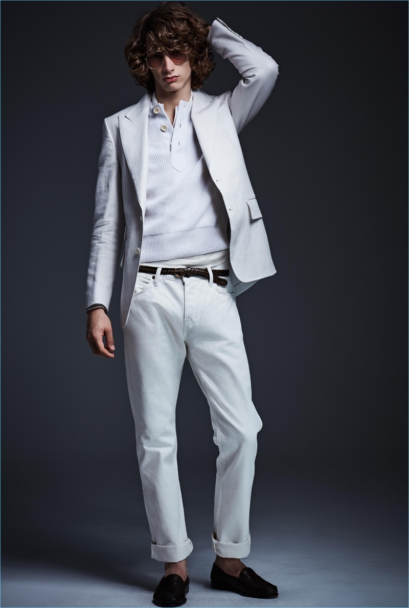 Monochromatic style reigns with a light summer look from Tom Ford.