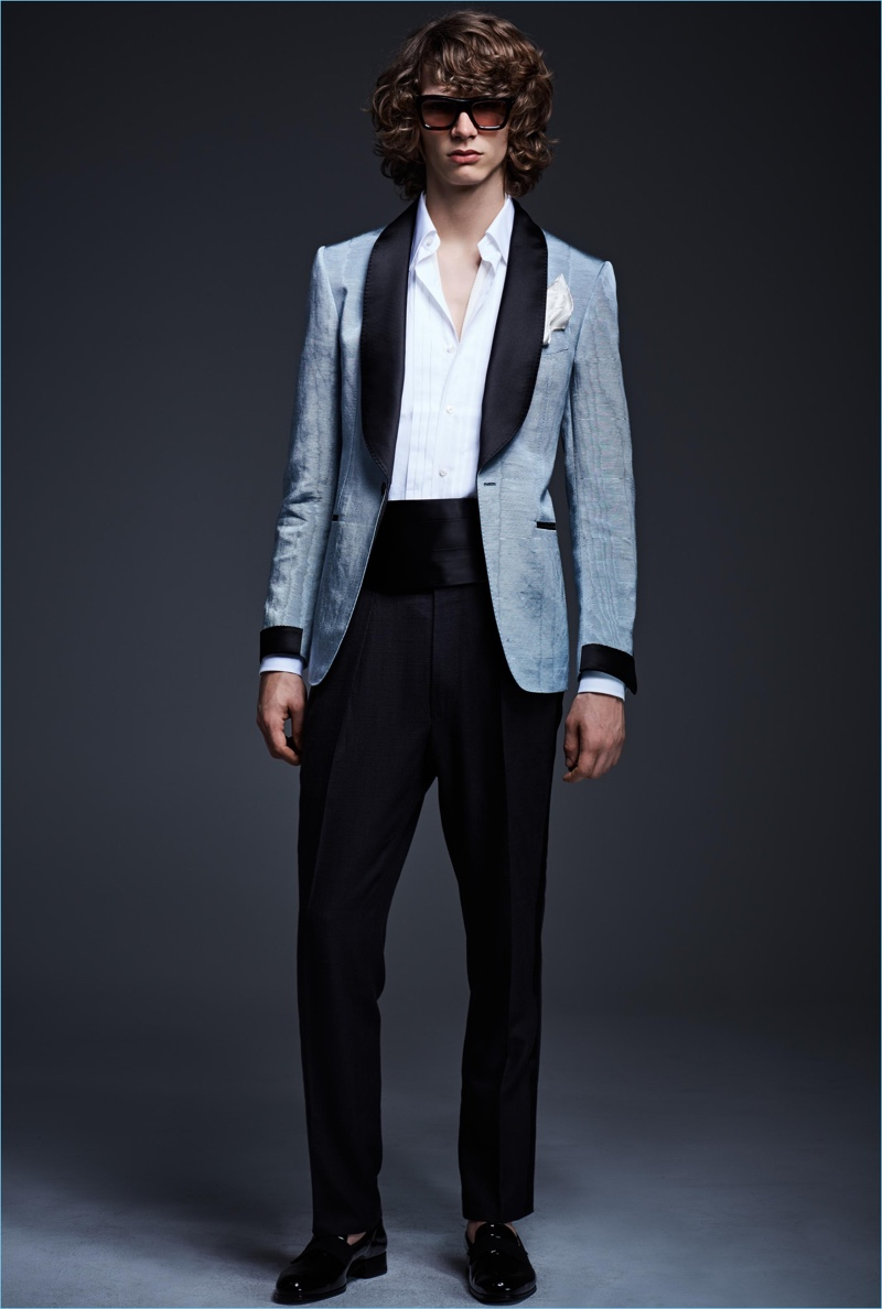 Formal attire is front and center with a dashing evening look from Tom Ford.