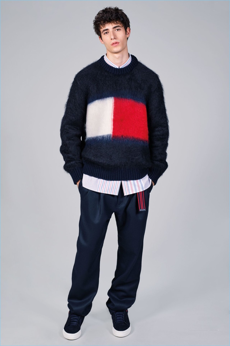 A mohair sweater serves as a new canvas for Tommy Hilfiger's iconic blue, red, and white logo.