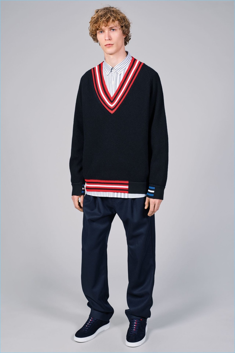 The v-neck sweater is revisited with a deep v for Tommy Hilfiger's fall-winter 2017 collection.
