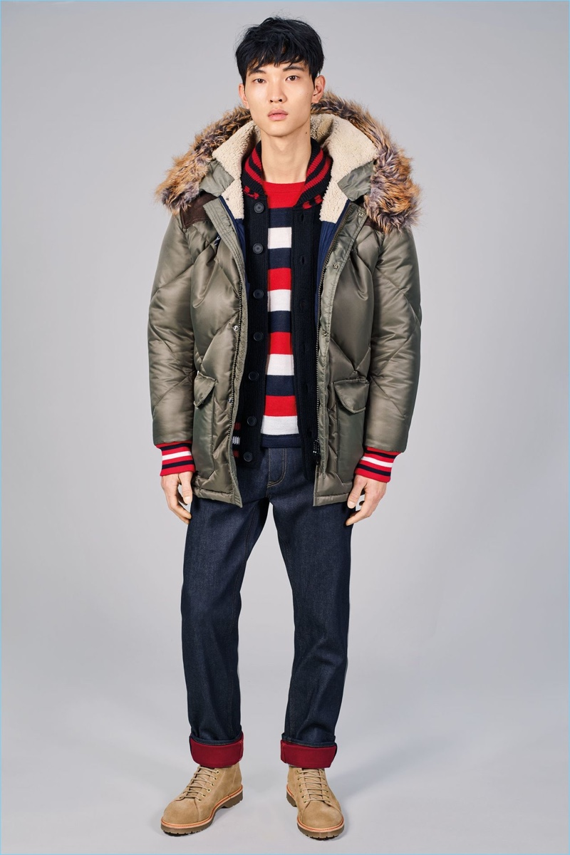 Delivering a streetwear vibe, Tommy Hilfiger serves up padded jackets and straight leg denim for fall-winter 2017.