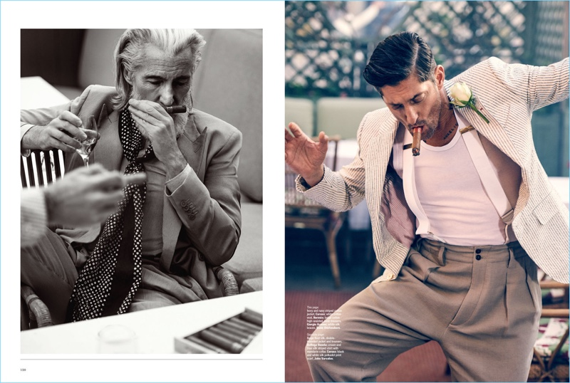 Smelling a cigar, Aiden Brady wears a Bottega Veneta suit with a Caruso shirt and John Varvatos scarf. Taking a smoke, Tony Ward wears a Caruso jacket with a Hermes tank, and Giorgio Armani trousers.